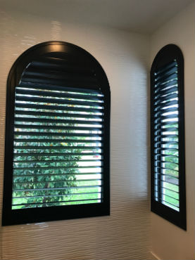 Plantation shutters horizontal arch